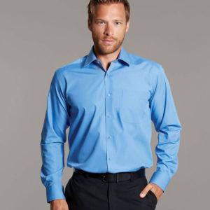 Disley Larne Cotton Rich Long Sleeve Shirt Mid Blue