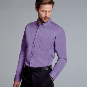 Disley Mens End On End Shirt Button Down Collar - Purple