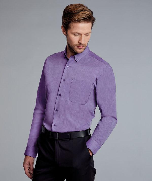 Disley Mens End On End Shirt Button Down Collar - Purple