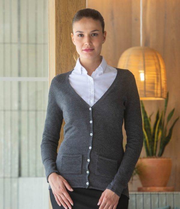 Henbury Ladies Cotton Acrylic V Neck Cardigan H723
