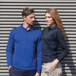 Henbury Long Sleeve Unisex Coolplus Pique Polo Shirt H478