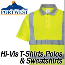 Portwest Hi-Vis T-Shirts Polos and Sweatshirts