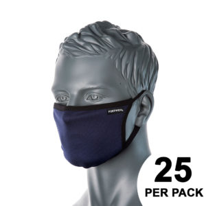 Portwest 3-Ply Anti-Microbial Fabric Face Mask Pack of 25 CV33