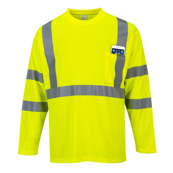 Portwest Hi-Vis Long Sleeved Pocket T-Shirt S191 Yellow