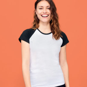 SOLS Ladies Milky Contrast Baseball T-Shirt 11195